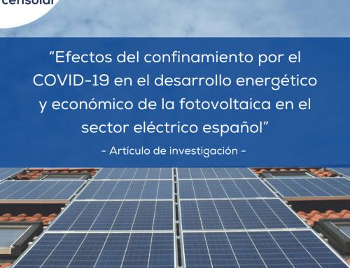 """Artículo de investigación: """"Los efectos del confinamiento por el COVID-19 a corto plazo en el desarrollo energético y económico de la fotovoltaica en el sector eléctrico español"""""""